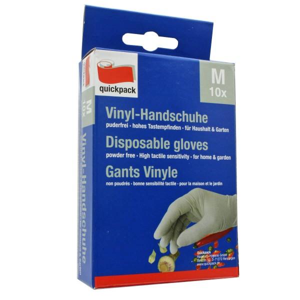 Die weißen Vinyl-Handschuhe im 10er Pack, Größe M