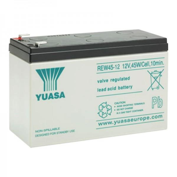Yuasa REW45-12 Akku Blei Hochstrom 12V mit 8Ah, Faston 6,3mm Steckkontakte
