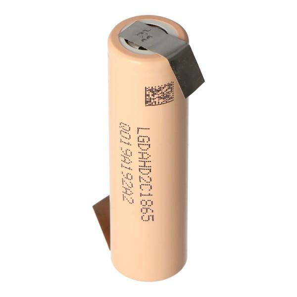 LG ICR 18650-HD2 2000mAh 3,6V bis 3,7V 25A konstant Lithium Akku Lötfahne Z, Abmessungen 65,2x18,5mm