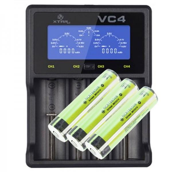 Panasonic 18650 Li-ion Akku geschützt mit 3,7 Volt, 3400mAh 3 Stück und LCD-Schnell-Ladegerät