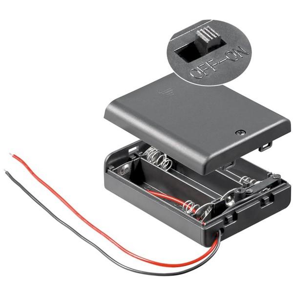 Batteriehalter für 3 Stück Mignon AA LR6 Batterien 4,5 Volt mit Kabel und Stecker