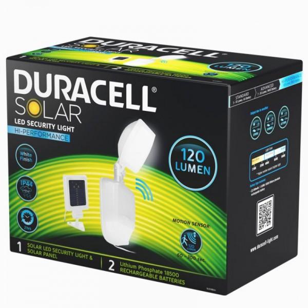 Duracell LED Solar Sicherheitsleuchte mit 120 Lumen, inklusive Lithium Akku, mit externem Solarpanel