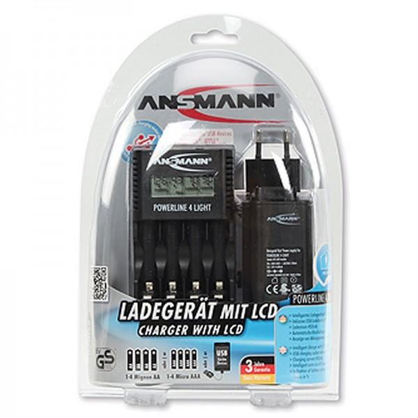 Ansmann Powerline 4 Light intelligentes Ladegerät mit LCD Anzeige inkl. USB-Ladebuchse