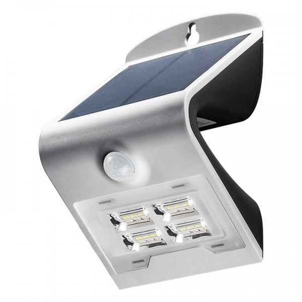 led solar wandleuchte silber mit bewegungsmelder 2w mit lithium ionen akku 18650 solar. Black Bedroom Furniture Sets. Home Design Ideas