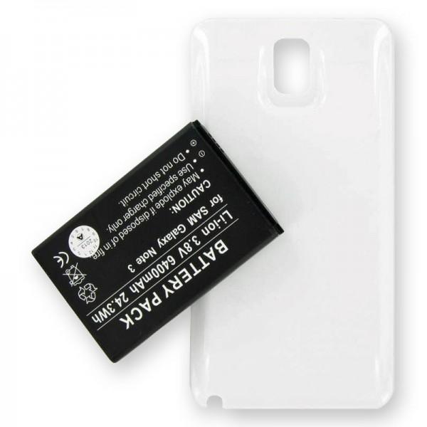 Samsung Galaxy Note 3, Samsung Galaxy Note III, B800BE, B800BU Ersatz-Akku 6400mAh mit weißem Gehäuse