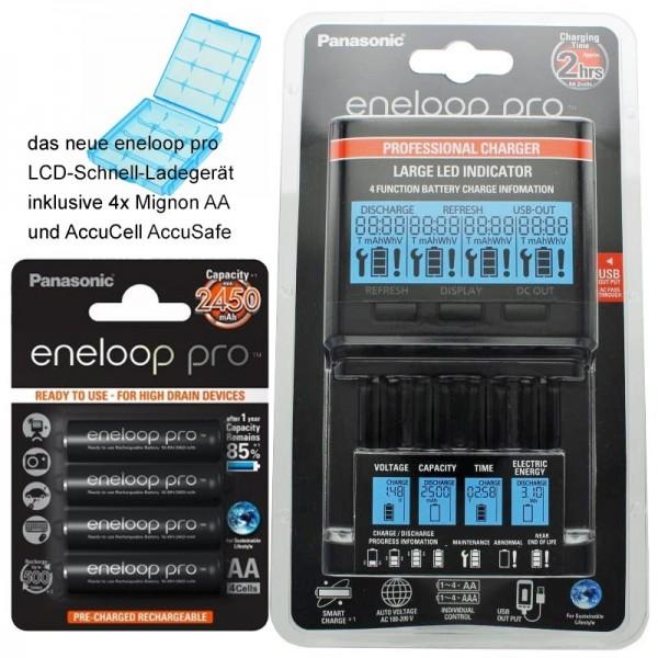 Panasonic eneloop Ladegerät BQ-CC65 inkl. LCD-Display, 4 eneloop Pro AA Mignon, AccuCell Box Blue