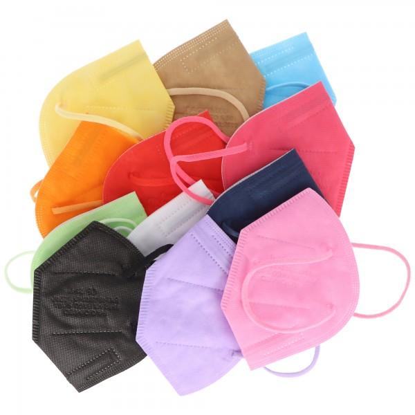 12er Pack FFP2 Masken Bunt 5-Lagig, zertifiziert nach DIN EN149:2001+A1:2009, partikelfiltrierende Halbmaske, FFP2 Schutzmaske