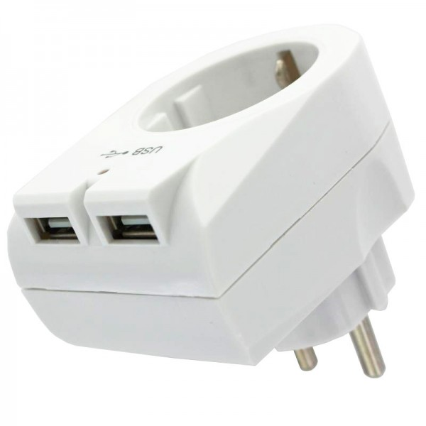 Eurostecker Steckdose mit 2fach USB Ausgang mit max 2100mA USB-Ladestrom, weiss