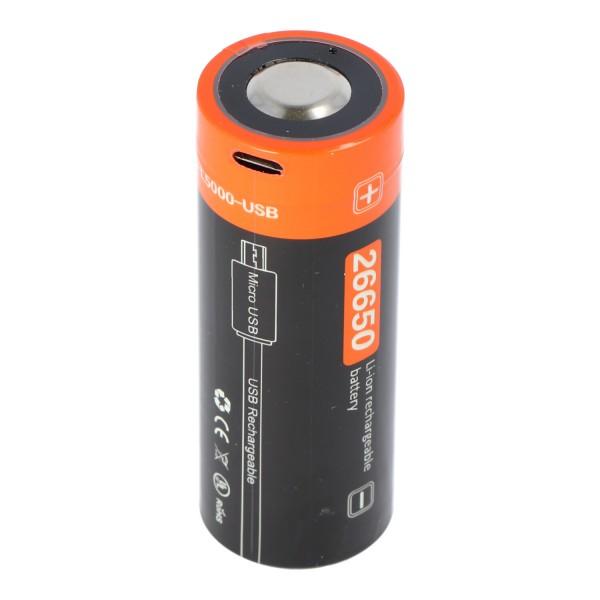 26650 Li-Ion Akku 5000mAh mit 3,7 Volt max. 18,5Wh, mit USB-Ladeanschluss