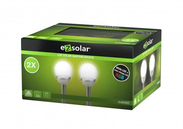 LED Solar Wegeleuchte Cracked Ball, Solar Gartenleuchte mit Farbwechsel-Funktion, inklusive 2x 1,2V AA Ni-MH Akku, 2er Set