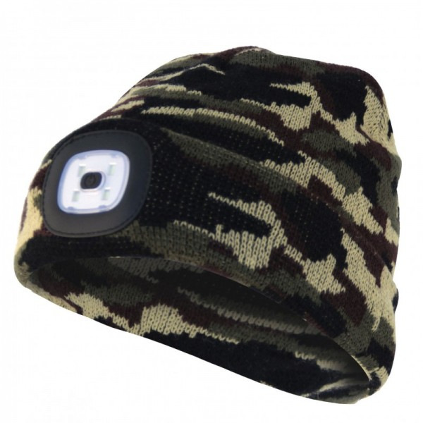 Mütze mit LED-Frontleuchte, Strickmütze mit LED-Licht ideal zum Joggen, Campen, Arbeiten, Spazieren etc., wiederaufladbar per USB und waschbar, tarnfarben camouflage