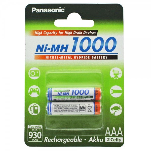 Panasonic HR-4U Micro AAA Akku NiMH 1,2 Volt 1000mAh 2er Blister und AccuSafe, auch passend für Gigaset A420 A Telefon Akku