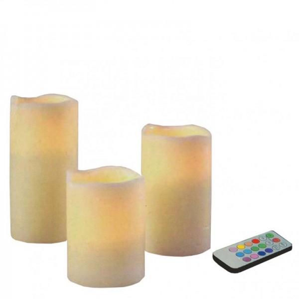 LED Kerzen-Set mit Farbwechsel und Fernbedienung 3-teilig im Set