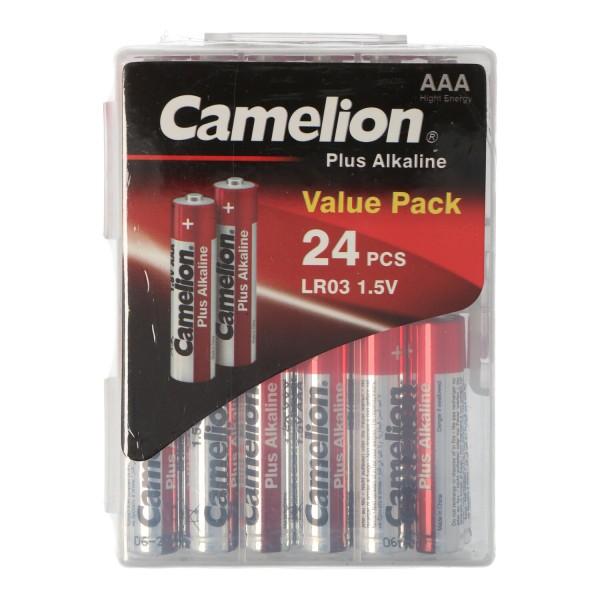 24 Stück Plus Alkaline LR03, Micro AAA Batterien in praktischer Batteriebox für 24 Batterien LR3