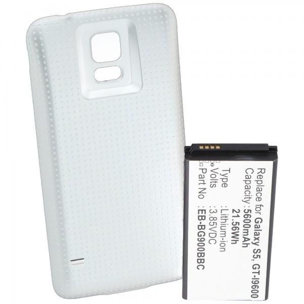 Akku für Samsung Galaxy S5, Samsung GT-I9600, Samsung GT-I9602, 5600mAh mit Deckel weiß