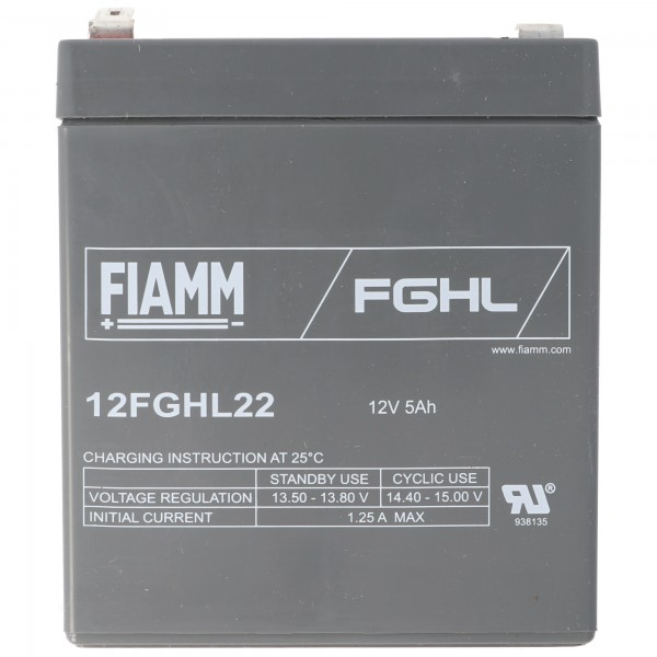 Fiamm 12FGHL22 Blei Akku 12 Volt 5Ah, Faston 6,3mm Steckkontakt