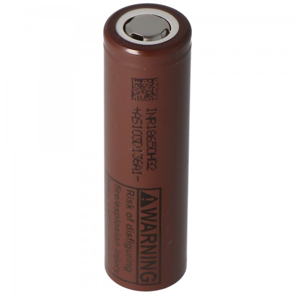 Li-Ion Akku LG ICR 18650 HG2 Li-Ion-IMR-Zelle Hi Drain mit 3000mAh, Abmessungen 65 x 18,3mm Flat Top