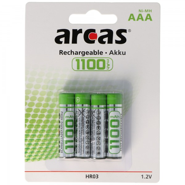 Arcas Micro AAA Akku 4er Pack 1100mAh