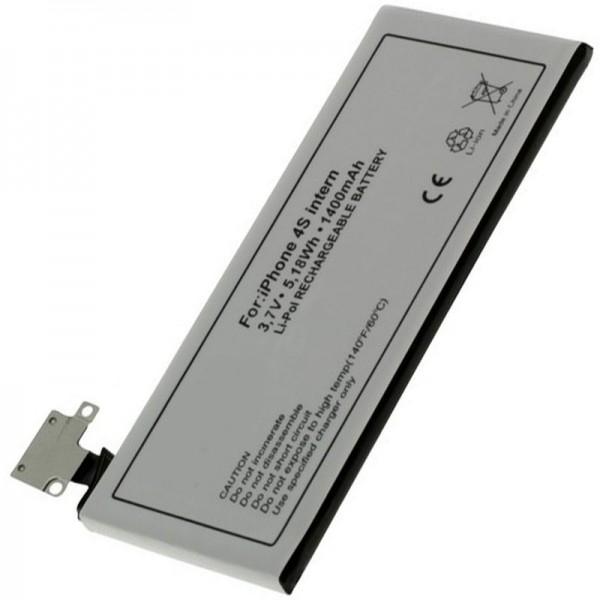 AccuCell Akku passend für Apple iPhone 4S Akku, 616-0579, GB-S10-423282-0100, 1400mAh