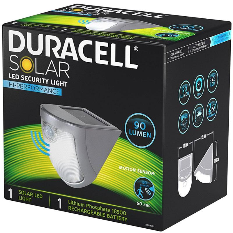 duracell led solar sicherheitslicht wegbeleuchtung mit bewegungsmelder bis zu 90 lumen. Black Bedroom Furniture Sets. Home Design Ideas