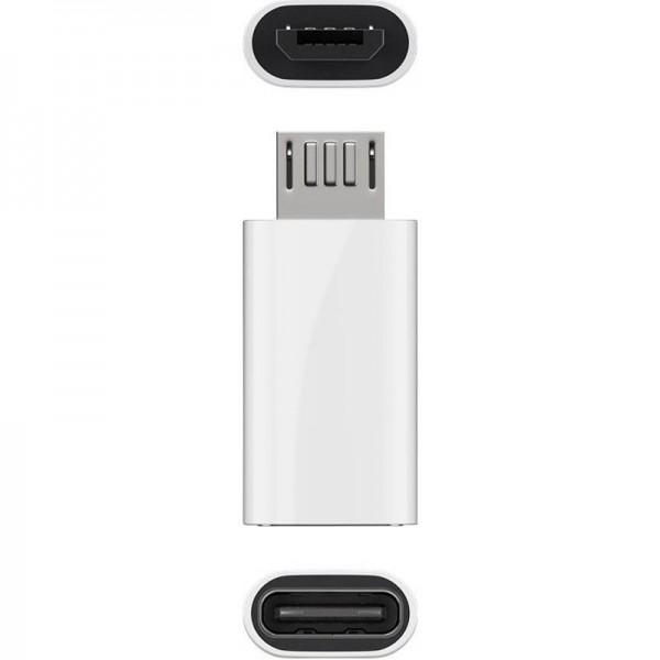 Adapter USB 2.0 Micro-B auf USB-C weiss, zum Verbinden eines Micro-USB Gerätes mit einem USB-C Kabel