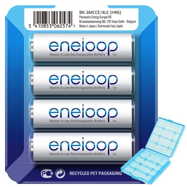 Die Panasonic eneloop Mignon AA NiMH Akkus in der neuen storage case und der AccuCell Box blue