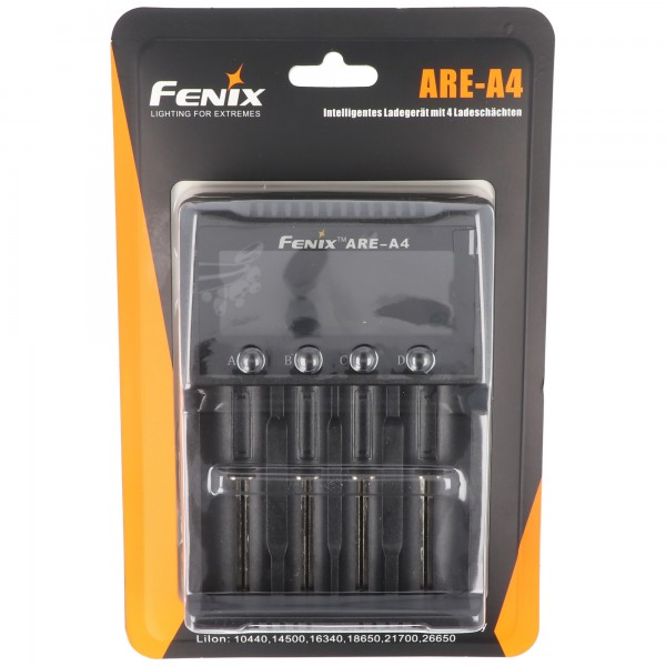 Fenix ARE-A4 Ladegerät für Li-ion 18650, 21700, AA, AAA, C, 26650 lädt bis max. 76mm Länge