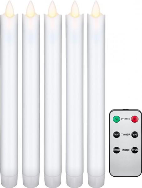 5er-Set weiße LED-Echtwachs-Stabkerzen inklusive Fernbedienung, die schöne und sichere Lichtlösung für Haus, Loggia, Büro, Schule, Kindergarten, Weihnachtsfest etc., inklusive Batterien