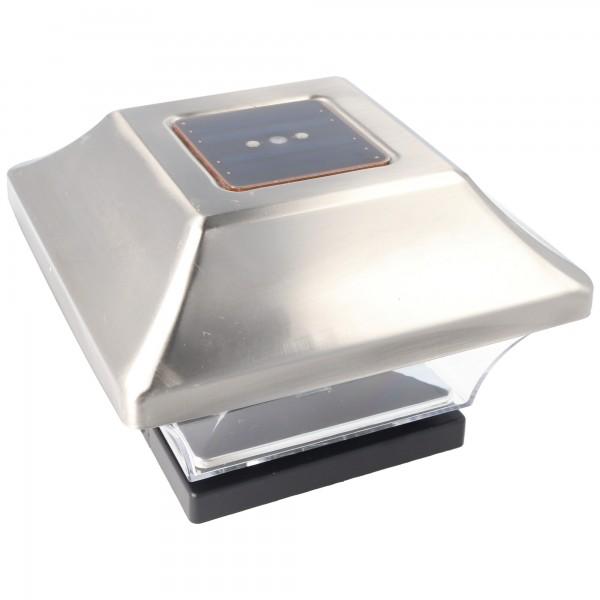 Zaunpfostenleuchte Solar LED Leuchte für Zaunpfähle, Garten Pfostenkappen, Zaunpfosten bauähnlich GL067SSDU in Edelstahl und Kunststoff mit 2 Adaptern