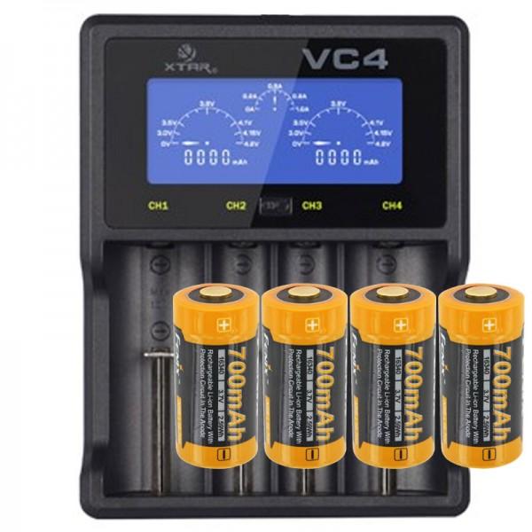 Schnell-Ladegerät und 4 Stück 3.7V 760mAh Li-Ion wiederaufladbare Batterien für Netgear Arlo drahtlose HD Überwachungskamera