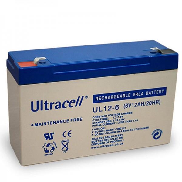 Ultracell UL12-6 Blei Akku 6 Volt 12Ah mit Faston 4,8mm Kontakten