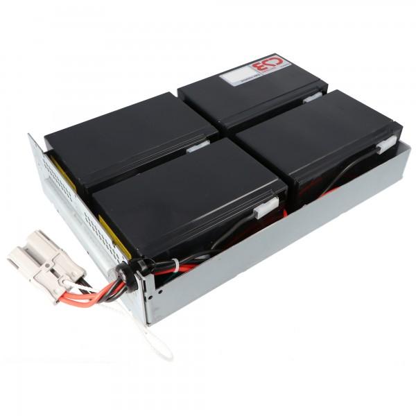 Nachbau Akku exakt passend für den APC-RBC133 Akku vormontiert mit Kabel und Stecker, passend für u.a. SMT1500RMI2U