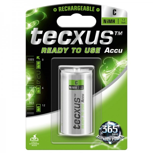Tecxus NiMH Akku Baby 1,2 Volt 4500mAh Ready to use 1 Stück