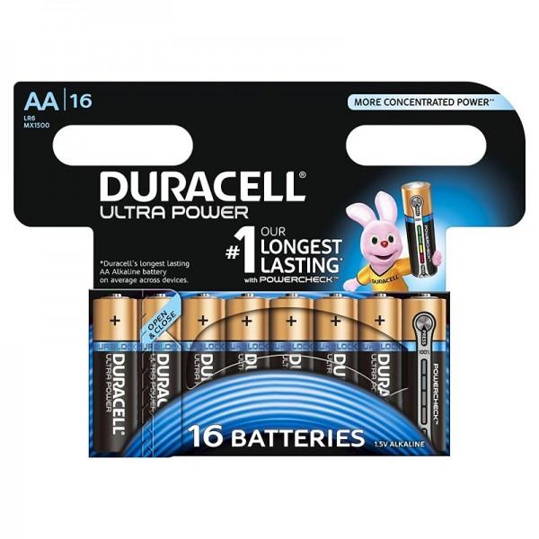 Duracell Ultra Power-AA MX1500, LR06 Alkaline-Batterie BPH16 mit Powercheck, wiederverschließbar