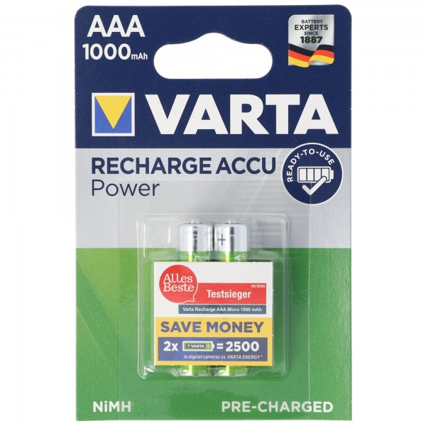 Varta 5703 Ready2Use Accu Micro 1000mAh 2er Pack