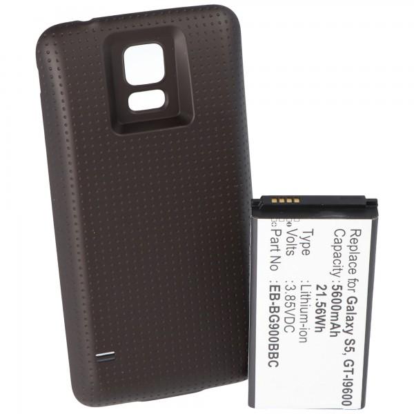 Akku nur passend für Samsung Galaxy S5 mit 5600mAh mit Zusatzdeckel schwarz