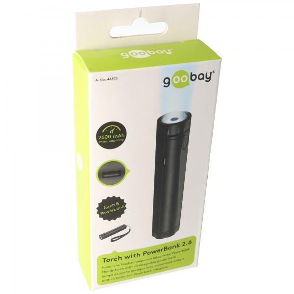 Powerbank 2600mAh mit heller LED-Taschenlampe und 2 Leuchtstärken