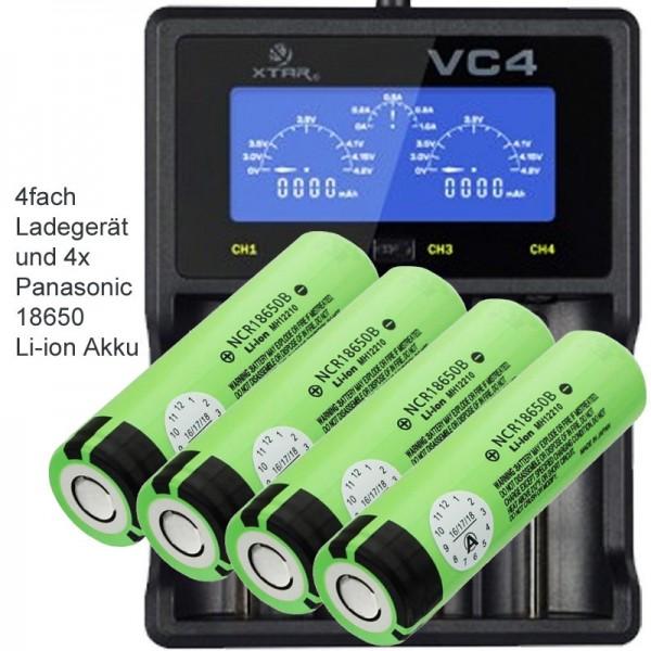 4-fach Ladegerät für bis zu 4 x 18650 Lithium Ionen Akku Batterie 100-240V Best