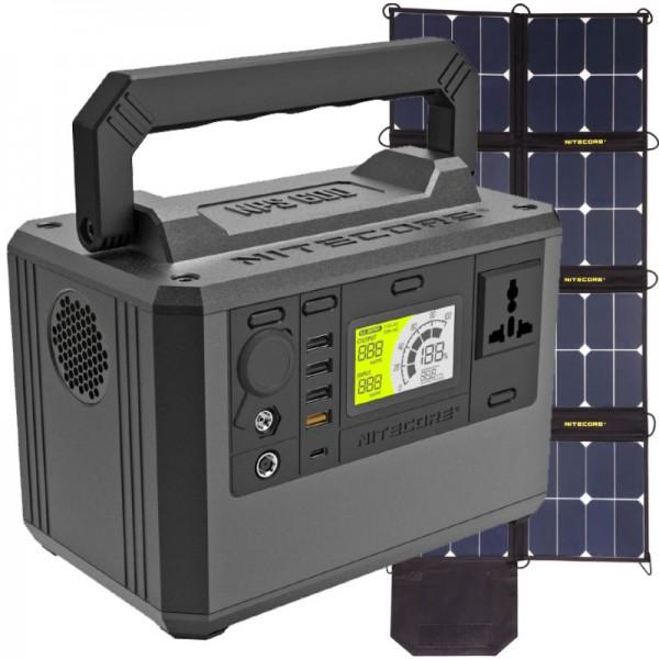 Nitecore NPS600 Power Station 165000mAh und Nitecore FSP100 faltbares Solarpanel mit max. 100W
