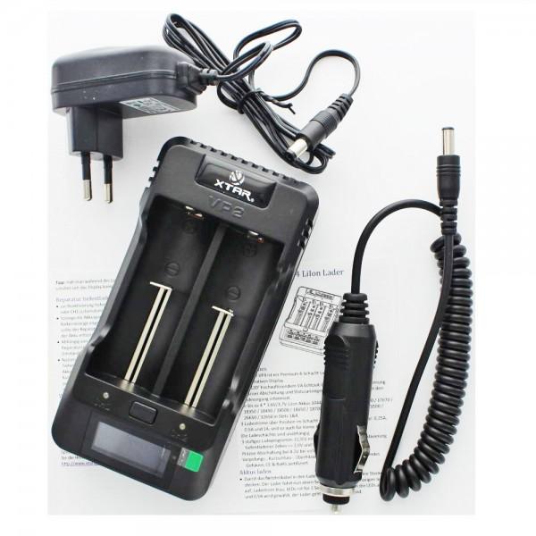 Schnell-Ladegerät 2fach passend für Li-Ion, IFR und LiFePo4 Akku mit 3,2 Volt, 3,6 Volt bis 3,8 Volt, Ladeschlussspannung max. 4,35V