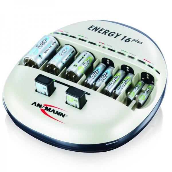 Ansmann Energy 16 plus Lade- und Pflegestation für 1-12 Micro AAA, Mignon AA Akkus