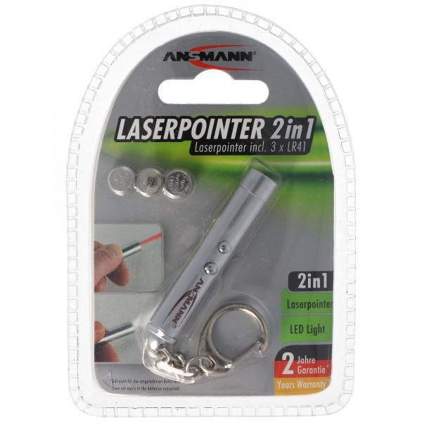 Ansmann Laserpointer 2in1 inklusive 3 Stück LR41 Knopfzellen