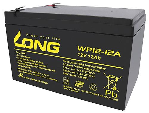 Kung Long WP12-12A F2 VdS Blei-Vlies-Akku, 12Volt, 12Ah mit 6,3mm Faston Anschluss