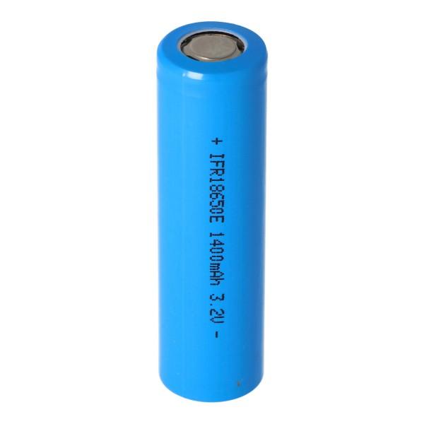 3,2 Volt Solar Akku Lithium 18650 IFR LiFePo4 Akku Flat Top ohne Kopf ungeschützt 64,5x18mm, 1100mAh - 1400mAh
