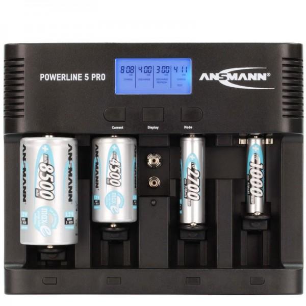 Ansmann Powerline 5 Pro Universal LCD Schnell-Ladegerät mit Kapazitätsanzeige