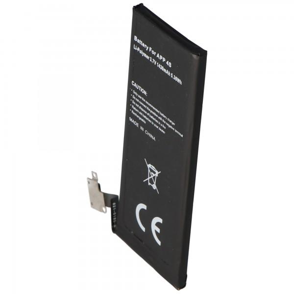AccuCell Akku passend für Apple iPhone 4S Akku, 616-0579, GB-S10-423282-0100 typ. 1440mAh, 5.3Wh, max. 1450mAh