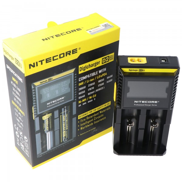 NiteCore Ladegerät Digicharger D2 mit Display für AAA, AA, C, D2EU- EU-Version NC-D2EU