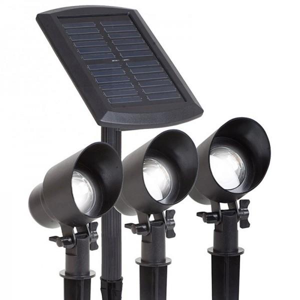maximus 3x led solarstrahler im paket mit externem solarpanel 15 lumen je strahler und. Black Bedroom Furniture Sets. Home Design Ideas