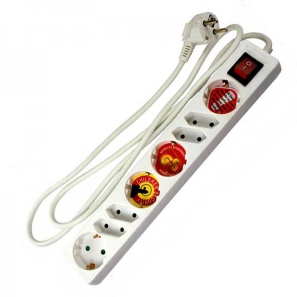 8-fach Steckdosenleiste mit Schalter max. 3500 Watt, 16A, 230 Volt