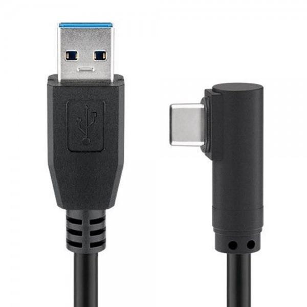 USB-C Stecker auf USB A 3.0 Kabel mit 90 Grad Stecker, schwarz, zum ...